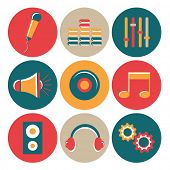 Set of colorful rounded musical web icons on white background.