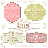 Beautiful vintage label, sticker or tag decorated by floral design and ornaments for Merry Christmas and Happy New Year 2015 celebration.