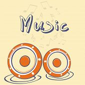 Stylish text of Music with speakers and musical notes on beige background.