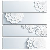 Set Of Trendy Banner With 3D Chrysanthemum