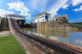 stock photo of passenger ship  - Ship exits locks at the Panama Canal towards the Pacific Ocean - JPG