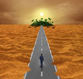image of oasis  - Discover opportunity business concept for success as a person walking on a desert road to an oasis of hope or a spiritual journey for the future - JPG