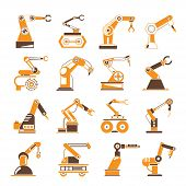 picture of robotics  - set of 16 robotic hand icons - JPG
