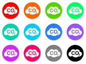 stock photo of carbon-dioxide  - carbon dioxide vector web icon set - JPG
