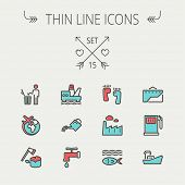 stock photo of garbage bin  - Ecology thin line icon set for web and mobile - JPG