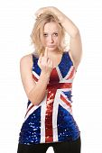 stock photo of indecent  - Sexy blonde in union - JPG