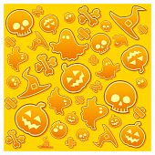 stock photo of drakula  - Halloween background with skull pumpkin bone hat and ghost in yellow vector illustration - JPG