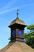 Clock in a wood tower