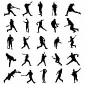 Baseball player silhouettes