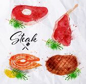 Постер, плакат: Set steak watercolor