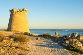 stock photo of costa blanca  - Old watchtower on the Mediterranean coast Costa Blanca Spain - JPG