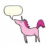 stock photo of unicorn  - cartoon unicorn with speech bubble - JPG