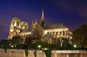 stock photo of notre dame  - Notre Dame Cathedral at night - JPG