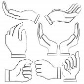 picture of hand gesture  - hand drawn hand symbols - JPG