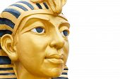 picture of pharaoh  - face of golden pharaoh statue isolated on white background - JPG