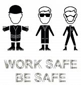 picture of ppe  - Monochrome construction manufacturing and engineering health and safety related message isolated on white background - JPG
