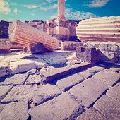 stock photo of collapse  - Ruins of Ancient Bet Shean which Collapsed during Earthquake Retro Effect - JPG