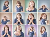 stock photo of shy woman  - Collection of Asian woman face - JPG