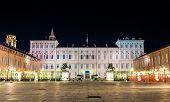 image of royal palace  - Royal Palace of Turin at night  - JPG