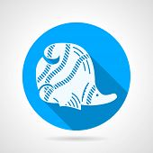 image of creatures  - Flat round blue vector icon with white silhouette striped butterflyfish on gray background - JPG