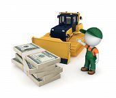 stock photo of bulldozer  - Yellow bulldozer and big stack of dollars - JPG