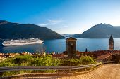 pic of yugoslavia  - View on Kotor bay from Perast city with cruise liner and mountains on background - JPG