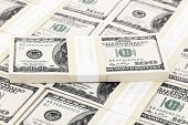 foto of one hundred dollar bill  - Stack of dollars One hundred dollar bills close up - JPG