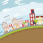stock photo of suburban city  - Summer city in slope land with bright and flat design concept - JPG