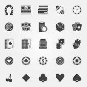 stock photo of poker machine  - Casino icons set  - JPG