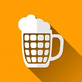 picture of guinness  - Glass Beer Mug Icon Long Shadows Vector Illustration - JPG