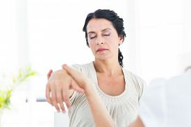 pic of hypnotic  - Hypnotized woman with her therapist on white background - JPG