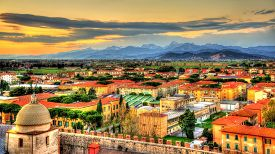 stock photo of apennines  - View of the Apuan Alps from the Pisa Tower  - JPG