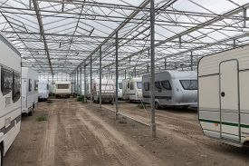 foto of caravan  - Caravan parking in an empty Dutch Greenhouse - JPG
