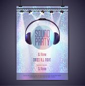 Постер, плакат: Disco Background Disco Poster Sound Party