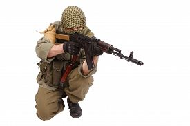 picture of ak-47  - shooter with AK 47 isolated on white - JPG