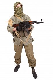 image of ak-47  - insurgent wearing keffiyeh with AK 47 gun isolated on white - JPG