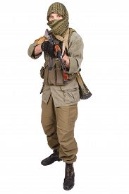 picture of ak-47  - insurgent wearing keffiyeh with AK 47 gun isolated on white - JPG
