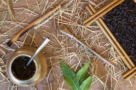 picture of calabash  - Calabash and bombilla with yerba mate on burlap - JPG