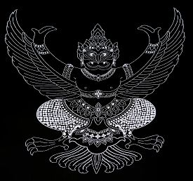 picture of garuda  - Garuda line and texture on a black background - JPG