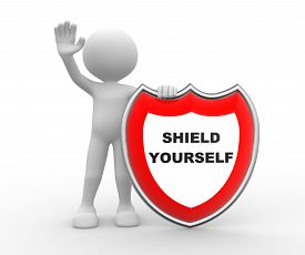 picture of shield  - 3d people  - JPG