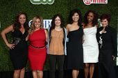LOS ANGELES - JUL 28:  Remini, Marissa Jaret Winokur, Sara Gilbert, Julie Chen, Holly R Peete, & Sharon Osbourne arrive at the CBS TCA Party  at The Tent  on July28, 2010 in Beverly Hills, CA