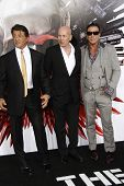 LOS ANGELES - AUGUST 3:  Sylvester Stallone, Bruce Willis & Mickey Rourke. arrives at