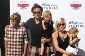 LOS ANGELES - AUG 11:  Dean McDermott,  Tori Spelling, & Children arrives to Disney/Pixar Celebrates