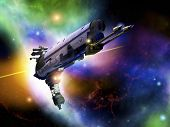 image of starship  - a large spaceship illustration in a colorful outer space backdrop - JPG