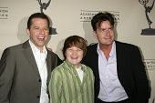 LOS ANGELES - FEB 27:  Jon Cryer, Angus T. Jones, and Charlie Sheen arrive at the Two and a Half Men