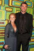 BEVERLY HILLS - JAN 16:  Hayden Panettiere, Wladimir Klitschko arrives at the HBO Golden Globe Party