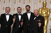 LOS ANGELES -  27:  Steven Spielberg, Emile Sherman, Iain Canning, and Gareth Unwin, in the Press Room at the 83rd Academy Awards at Kodak Theater, Hollywood & Highland on F