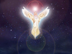 stock photo of christmas angel  - Angel appearing in a starry nights - JPG