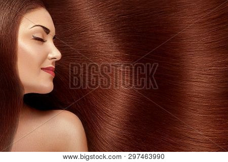 poster of Beautiful Hair. Beauty Woman With Luxurious Long Hair. Beauty Model Girl With Healthy Red Hair. Pret
