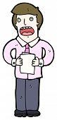 man reading from notes cartoon (raster version)